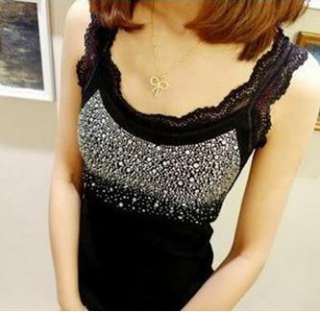 Fashion Rhinestone Lace Sleeveless T shirt Women Tank Top Vests