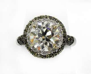 White Gold Ring , center Natural Round Diamond with Yellow Sapphire