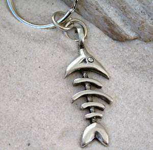 FISH BONES SEALIFE Pewter KEYCHAIN Key Ring