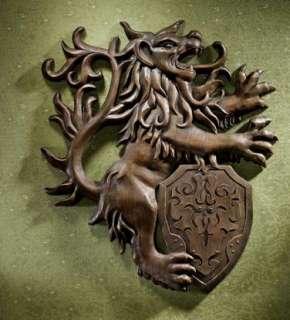 Medieval Raging Lion Heraldic Shield Wall Sculpt Gothic