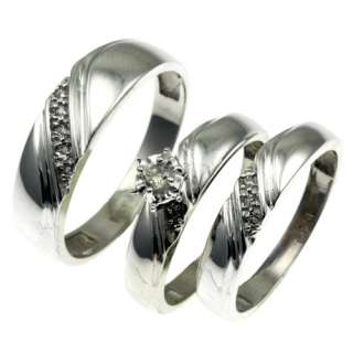 His and Her 10k white gold diamond wedding band ring