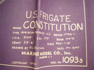 1940 USS Frigate Constitution Wooden Ship Model 1093