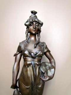 Beautiful* Antique French Art Nouveau Figural Maiden Bronzed Statue