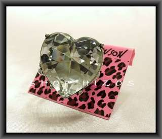 BETSEY JOHNSON LARGE CLEAR CRYSTAL HEART RING NWT OSFA
