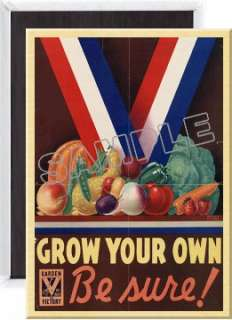 Victory Gardens Grow Your Own Poster Fridge Magnet vg06. LARGE 3 1/2