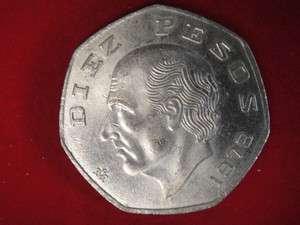 1979 Diez 10 Pesos Mexico Mexican Coin  COOL! #x4
