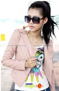 Women Fashion Vintage Motorcycle Faux Leather Short Jacket Coat Pink