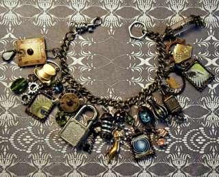 ~Steampunk/Victorian/Edwardian Magic/Magician Charm Bracelet Vtg Dial