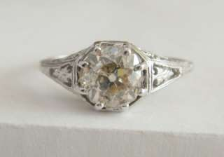 22CT SOLITAIRE ANTIQUE OLD MINE CUT DIAMOND 14K WHITE GOLD FILIGREE