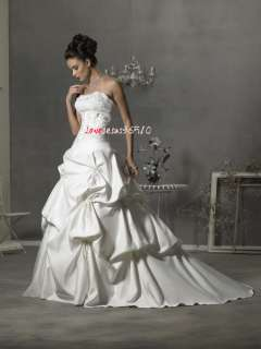Line Strapless White ivory Court wedding dress Bridal Gown prom Satin
