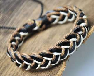 Sharp Hemp Leather Braided Bracelet Wristband Cuff HOT