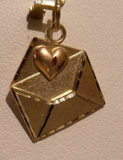 14K YELLOW GOLD LOVE LETTER W ROSE GOLD HEART CHARM PENDANT 1gr
