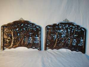 PAIR OF WOOD HAND CARVED CHINESE WALL PLAQUES FRAMES No Reseve