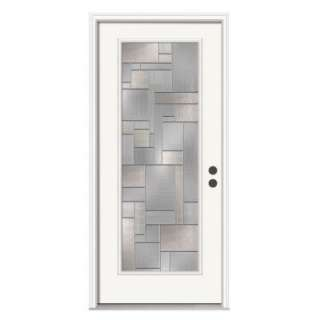 JELD WEN Destin 36 In. X 80 In. Primed White Prehung Left Hand Inswing