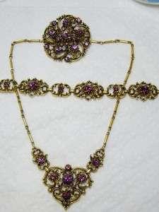 Vintage CORO Gold Tone Purple Rhinestone Necklace Bracelet, Brooch