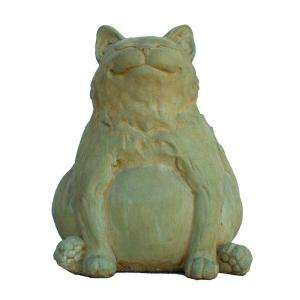Cast Stone Happy Fat Cat Garden Statue, Weathered Bronze GNCFH WB at