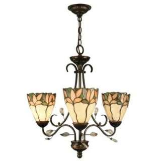 Springdale Lighting Tiffany Crystal Leaf Collection 3 Light Hanging