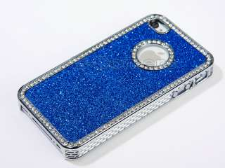Sparkle Diamond Bling PU Case Cover W/Chrome For iPhone 4 4S 4G