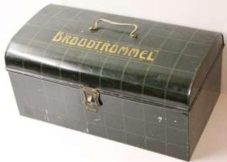 Antique Dutch dark green tin bread bin1910s.