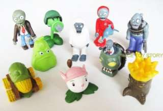 PLANTS VS ZOMBIES FUNNY ACTION FIGURE SET OF 10PC OF RARE CHARACTER