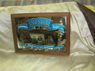 Heilemans Old Style Lager Framed Mirror Beer Sign. Wooden Frame