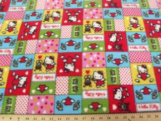 HELLO KITTY PATCHWORK RED FLEECE A45 $9.99/YD