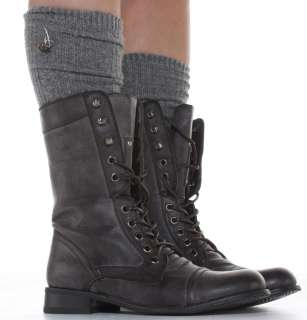 Women Flat Lace up Army Biker Ankle Brown Ladies Military Boots Size 3