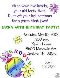 Peace Love Happiness 60s Birthday Invitation