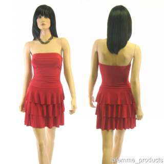 RED Strapless Ruffle 3 tier Cocktail Prom Dress L