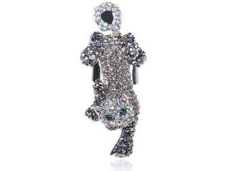 Jet Czech Rhinestone Kitty Cat Clawing Angry Fierce Crystal Rhinestone