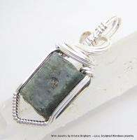 BLUE SAPPHIRE CRYSTAL Sterling Silver WIRE WRAP PENDANT