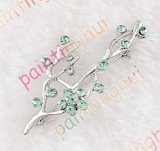 Free tree Brooch Pin W with Swarovski Crystal green
