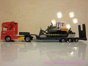 64 SCANIA FLATBED TRAILER with BULLDOZER DIECAST TOY