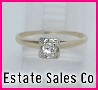 14kyg Antique Round Diamond Engagement Ring .17 carats