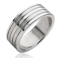 Stainless Steel Comfort Fit Double Brushed Stripe Band Ring Size 9 13