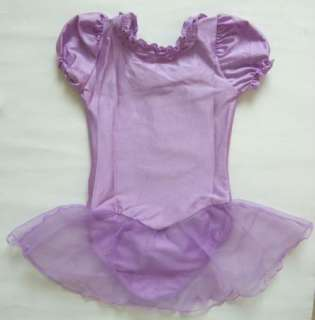 New Girls Purple Cute Gym Leotard Ballet Tutu Skirt Dress