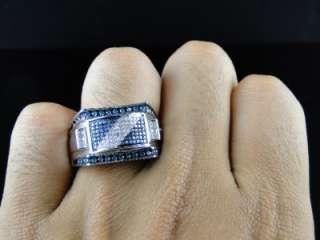FINISH BLUE/WHITE DIAMOND PINKY FASHION DESIGNER RING 0.75 CT