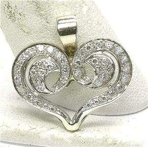 Estate 14k White Gold & .60 carat Diamond heart pendant