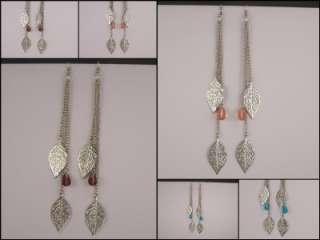 Silver extra Long LEAF leaves multi chain fringe earrings dangle