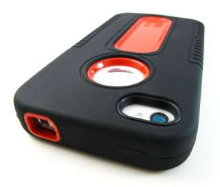 BLACK RED Heavy Duty Hard Soft Shell Case Cover Apple iPhone 4 4S