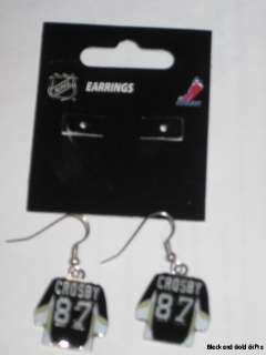 PITTSBURGH PENGUINS NHL CROSBY BLACK SHIRT EARRINGS NEW