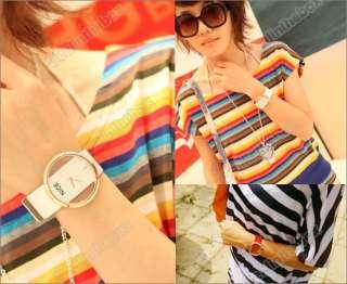 NEWEST Korean Fashion Women PU Leather Transparent Dial Lady