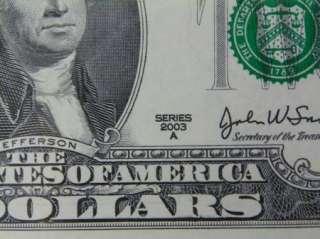 Uncut $2 Two Dollar Bills, US Currency D212  