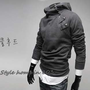 Fashion Mens Slim Sexy Top Designed Rider Style Hoodie Jacket