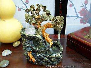 Chinese Oriental Japanese Lucky Money Bonsai Coin Tree Water Fountain