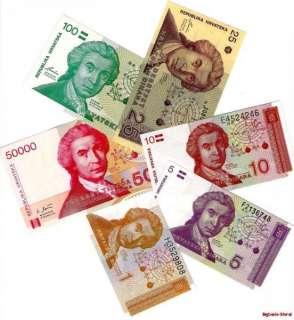Croatia 6 Banknote set Europe Paper money Currency