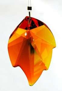 AB 8805 45mm SWAROVSKI LEAF Austrian Crystal Prism Pendant HTF w Logo