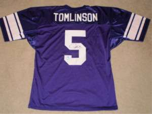 TOMLINSON LT AUTOGRAPHED SIGNED TCU HORNED FROGS #5 JERSEY GTSM HOLO