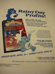 CARE BEARS Rainy Day Activities 1990 Promo Advert