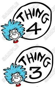 Thing 3 and Thing 4 Shirt Iron on Transfer #2